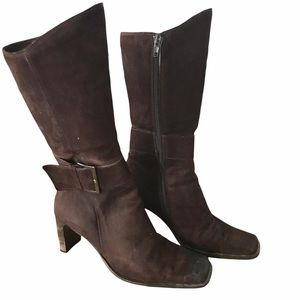 Vintage Suede Chocolate Brown Square Toe Boots- 7
